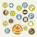 Email icons over beige background vector illustration Royalty Free Stock Photo