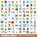 100 email icons set, flat style
