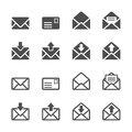 Email and letter icon set, vector eps10 Royalty Free Stock Photo