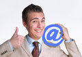 Email man optimistic businessman holding internet globe icon Stock Images