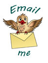 Email me bird flying with an envelope clutched in its claws Stock Photo