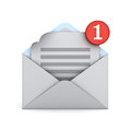 Email notification one new email message in the inbox concept