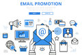 Email promotion digital marketing concept flat line art vector icons