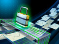Email security stream passing through a scanner digital illustration Royalty Free Stock Photo