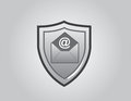 Email shield front gray background Stock Photos