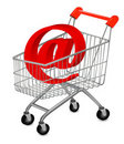 Email and shopping cart, concept of E-commerce Royalty Free Stock Photo