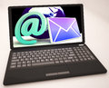 Email sign on laptop shows online mailing and communication Royalty Free Stock Image