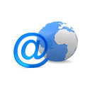 Email symbol and a globe Stock Photos