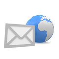 Email symbol and a globe Stock Images