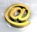 Email symbol in gold (3d) Stock Image