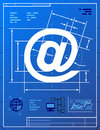 Email symbol like blueprint drawing stylized of at sign on paper qualitative vector eps illustration about internet communication Stock Photo