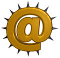 Email symbol with prickles on white background d illustration Stock Images