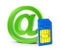 At email symbol and sim card isolated on white background abstract mobile wireless communication technology internet business Royalty Free Stock Image