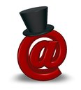 Email symbol with topper red emailsymbol black d illustration Royalty Free Stock Photos