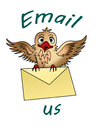 Email us bird flying with an envelope clutched in its claws Royalty Free Stock Image