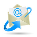 Email wrapped arrow the mail open envelope with a sheet of paper inside and e mail symbol blue on the white background Royalty Free Stock Photo