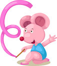 Emale gymnast mouse with ribbon Royalty Free Stock Photo