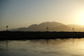 Embankment in lagoon on sunset dahab south sinai egypt Stock Photography