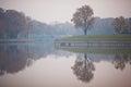 Embankment of lake superior kaliningrad in a morning fog russia Royalty Free Stock Photos
