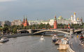 Embankment in moscow on a rainy day a view of the kremlin Royalty Free Stock Photos