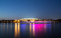 Embankment of the moskva river and luzhniki stadium night view moscow russia Royalty Free Stock Photos