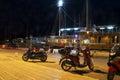 Embankment and neon lights bikes boats in Makarska, Crovatia Royalty Free Stock Photo