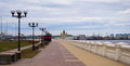 Embankment in nizhny novgorod view of the of the river volga Royalty Free Stock Images