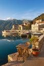 Embankment of Perast town. Montenegro Royalty Free Stock Photo