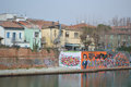 Embankment of the porto canale rimini italy february residential areas rimini Stock Photography