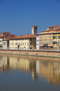 Embankment of the river arno in italian city pisa Stock Images