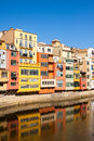 Embankment of river at girona in sunny da day catalonia Stock Photography