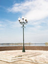 Embankment of rybinsk lantern standing on the russia Stock Photography
