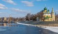 Embankment of uglich with transfiguration cathedral Royalty Free Stock Photography