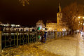 Embankment of the Vltava River near Charles Bridge, night. Prague. Czech Republic Royalty Free Stock Photo
