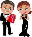 Embarrassment and surprise at romantic date illustration featuring bob in elegant dress giving heart shaped chocolate box to meg Royalty Free Stock Image