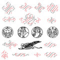 Embellishment lots of decorative and embellished signs and symbols Stock Photography