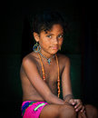 Embera girl panama jungle a young of the indigenous tribe of the indians of the dressed in her brightly colored native clothing Royalty Free Stock Photo