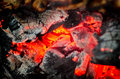 Embers from the fire in the brazier Stock Images