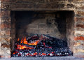 Embers glow of preparing for outdoors charcoal barbecuing in fireplace Royalty Free Stock Photos
