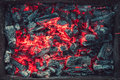 Embers texture closeup after a fire Royalty Free Stock Photos