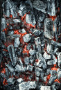 Embers texture closeup after a fire Royalty Free Stock Images