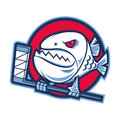 Emblem aggressive piranha holds hockey stick Stock Photos