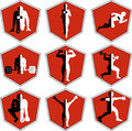 The emblem with the athlete a sport logo the runner on start person runs sports training track and field athletics Royalty Free Stock Images
