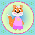 Emblem card with cute cartoon Fox