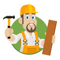 Emblem carpenter in circle illustration format eps Stock Image