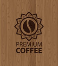 Emblem of coffee on a background wooden planks Stock Photos