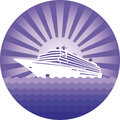 Emblem with cruise liner ship in a circle on a background of sea and sun Stock Image