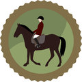 Emblem equestrian image of jockey on horseback in the shape of medal Royalty Free Stock Images