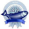 Emblem with fish Stock Photos