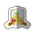 emblem fruits icon stock